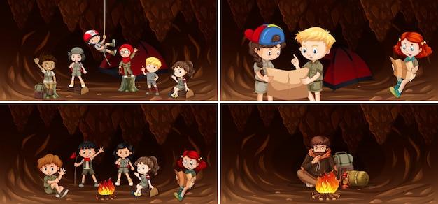 Set kampierende kinder in der höhle Premium Vektoren