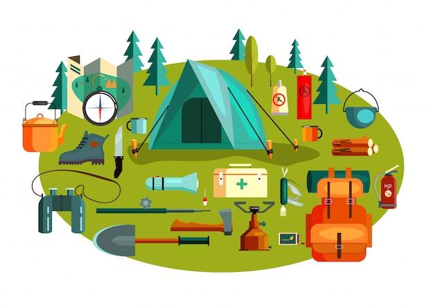 Set kampierende werkzeuge und ausrüstung Kostenlosen Vektoren