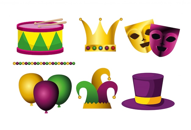 Set karneval dekoration Kostenlosen Vektoren