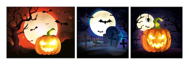 Set karten mit halloween-szenen Kostenlosen Vektoren