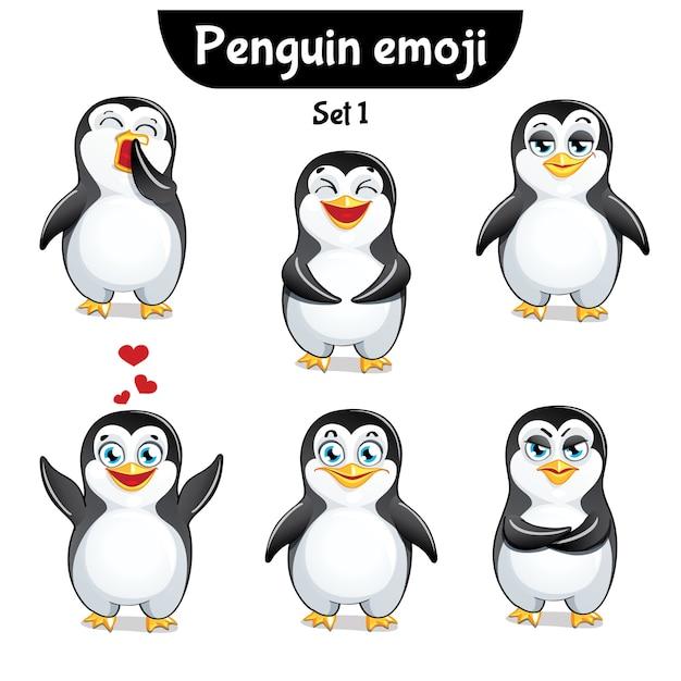 Set kit sammlung aufkleber emoji emoticon emotion isoliert illustration glücklichen charakter süß, niedlichen pinguin Premium Vektoren