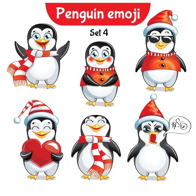 Set kit sammlung aufkleber emoji emoticon emotion vektor isoliert illustration glücklichen charakter süß, niedlichen weihnachtspinguin Premium Vektoren