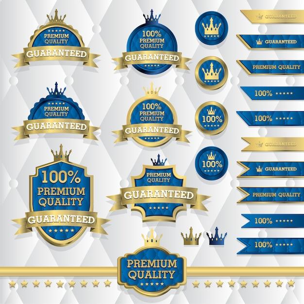 Set klassischer goldetiketten, vintage-elemente, premium-qualität, limited edition, sonderangebot, illustration Premium Vektoren