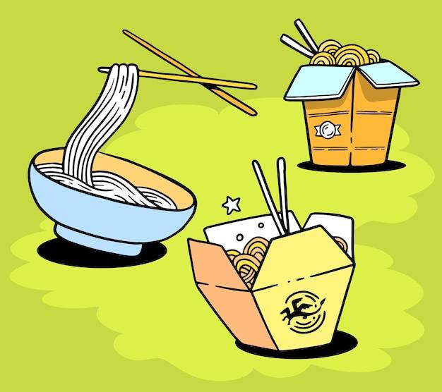 Set köstliche asiatische nudeln in schachtel und auf teller mit stäbchen Premium Vektoren