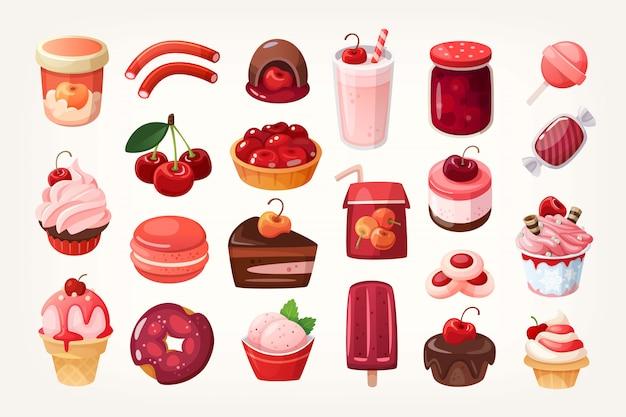 Set köstliche fruchtbonbons und -nachtische Premium Vektoren