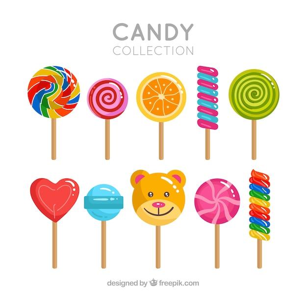 Set köstliche süßigkeiten Premium Vektoren