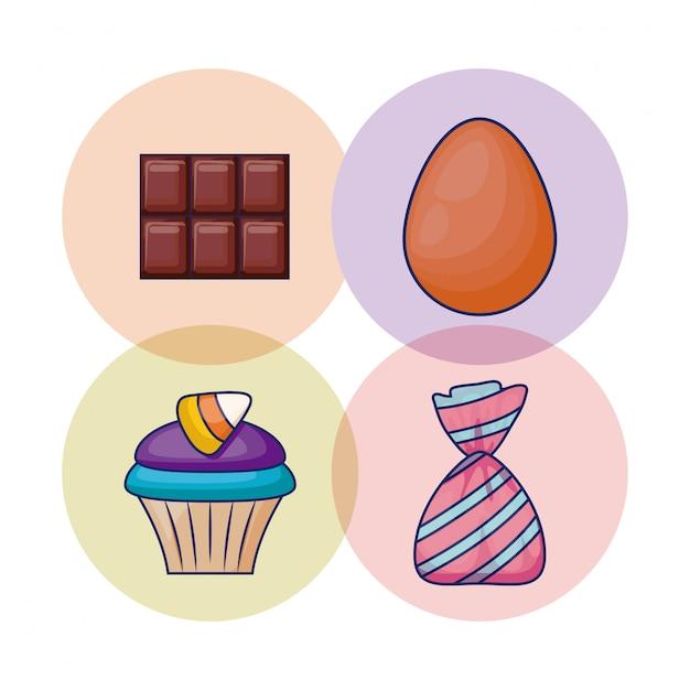 Set köstlicher kleiner kuchen und süßigkeiten Kostenlosen Vektoren