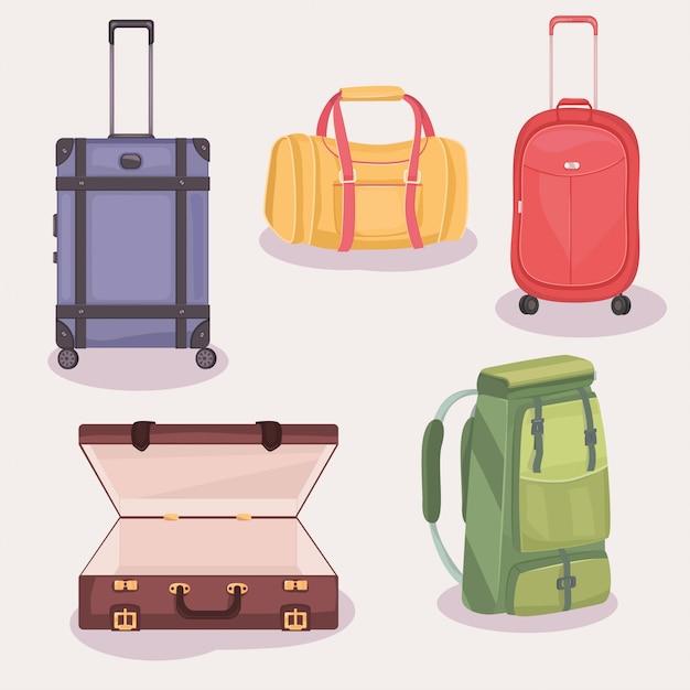 Set koffer und taschen für die reise Premium Vektoren