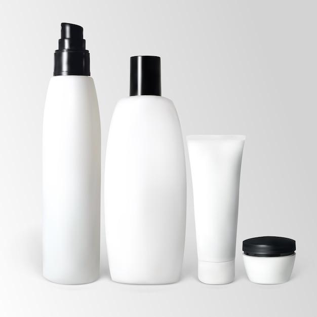 Set kosmetische produkte in flaschen und tuben. die abbildung enthält verlaufsnetze. Premium Vektoren