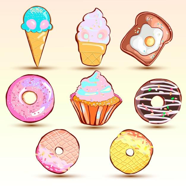 Set kreative süße kekse. Premium Vektoren