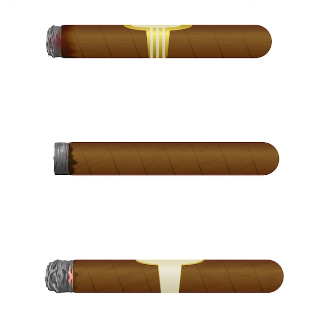 Set kubanische zigarren. Premium Vektoren
