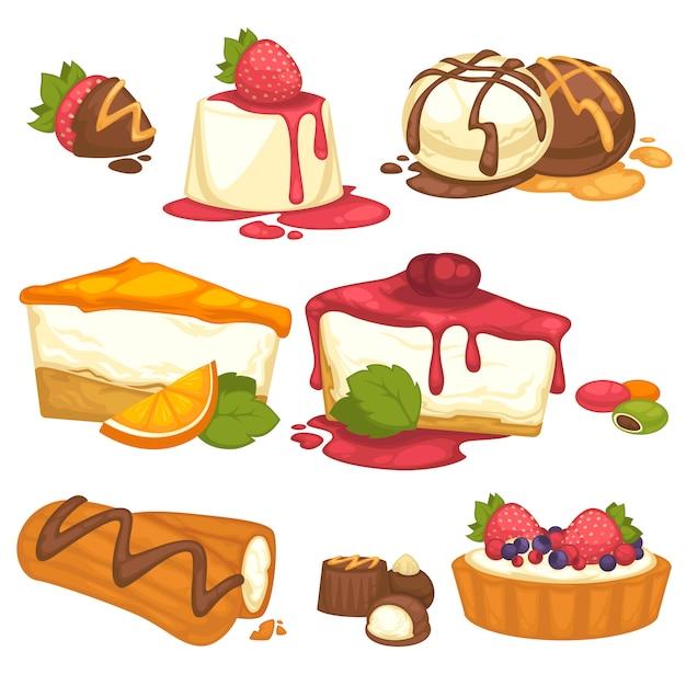 Set kuchen, süßigkeiten, eiscremewüsten mit sahne und nachtisch. Premium Vektoren
