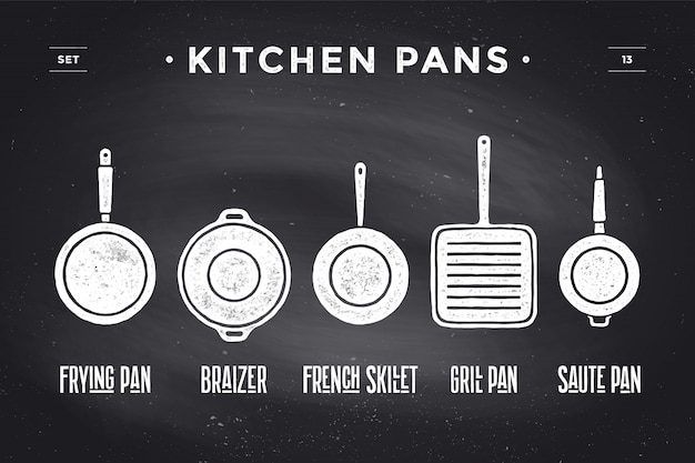 Set küchentöpfe. poster geschirr - pfannen, grill, topf Premium Vektoren