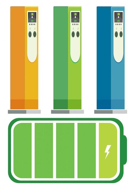 Set ladestationen für elektroautos Kostenlosen Vektoren
