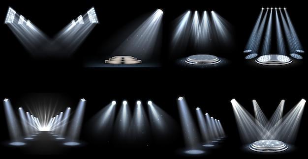Set lichteffektscheinwerfer Premium Vektoren