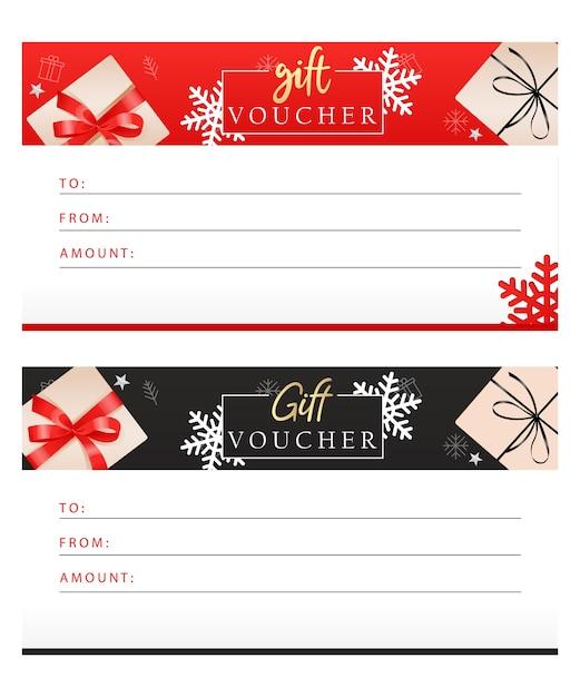 Set luxus-geschenkgutscheine mit bändern, schleifen, geschenkboxen Premium Vektoren