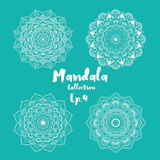 Set Mandala dekorative und ornamentale Design für Malvorlage, Grußkarte, Einladung, Tattoo, Yoga und Spa-Symbol Kostenlose Vektoren