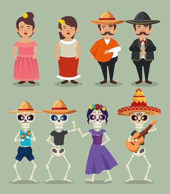 Set mariachi männer mit frau und catrina mit skeletten Kostenlosen Vektoren