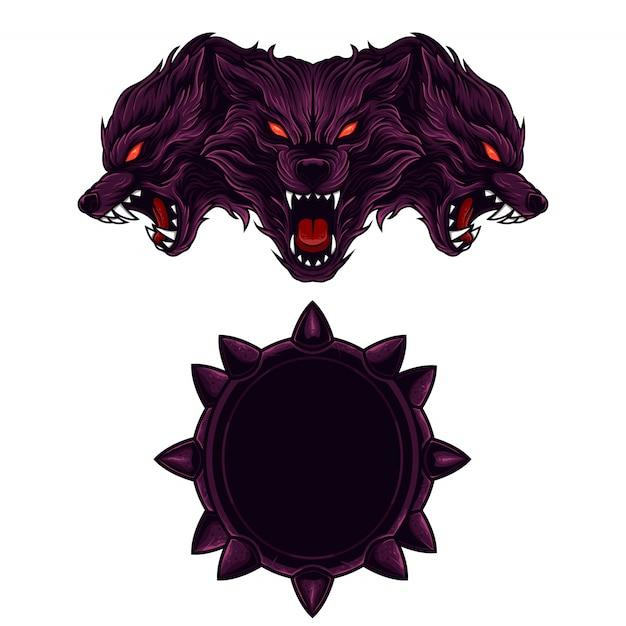 Set maskottchen logo kerberus Premium Vektoren