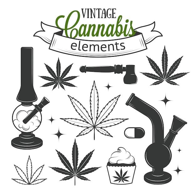 Set medizinische cannabiselemente Premium Vektoren