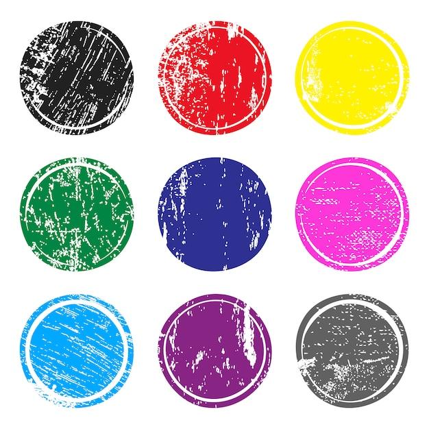 Set mehrfarbige pfostenstempel mit grunge beschaffenheit. Premium Vektoren