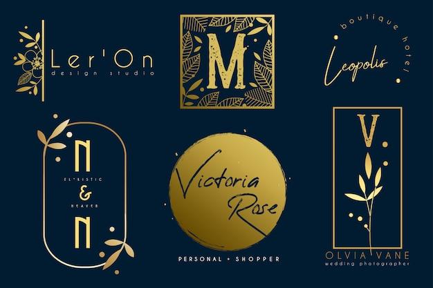Set minimalistic gold botanische logo-vorlagen Premium Vektoren