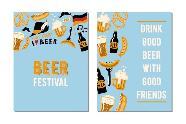 Set mit 2 karten für das bierfest. Premium Vektoren