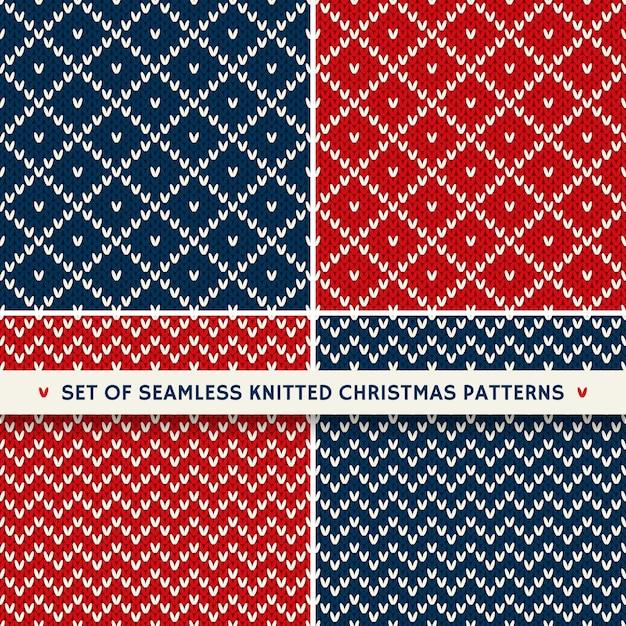 Set mit 4 nahtlosen strickmustern für den winterurlaub. weihnachts- und neujahrsornamente Premium Vektoren