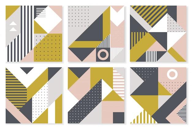 Set mit 6 hintergründen mit trendigem geometrischem design. Premium Vektoren