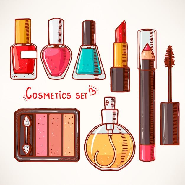 Set mit dekorativer kosmetik für frauen. handgemalt. Premium Vektoren