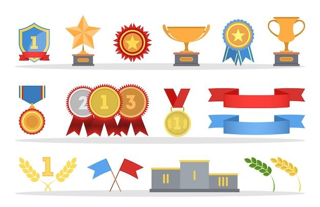 Set mit goldenen medaillen und trophäenbechern. metallabzeichen mit roten bändern. illustration Premium Vektoren