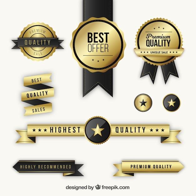Set mit goldenen premium-abzeichen und bändern Kostenlosen Vektoren