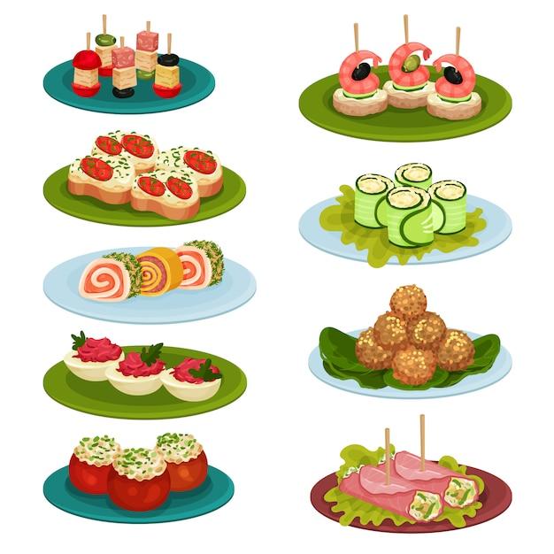 Set mit verschiedenen snacks für das bankett. appetitliches essen. kulinarisches thema. für rezeptbuch oder restaurantmenü Premium Vektoren