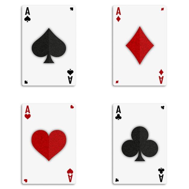 Set mit vier assen kartenspiel Premium Vektoren