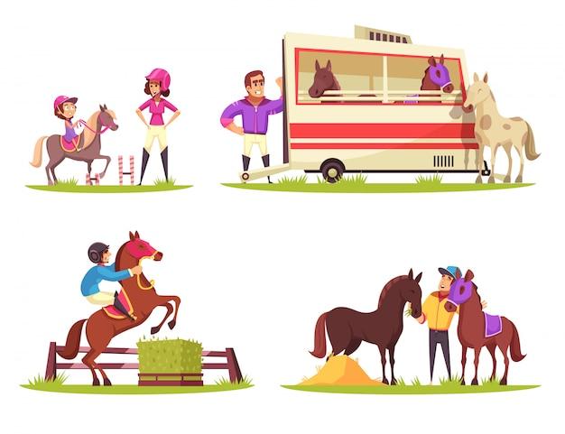 Set mit vier kompositionen im freien mit pferden und jockeys Kostenlosen Vektoren