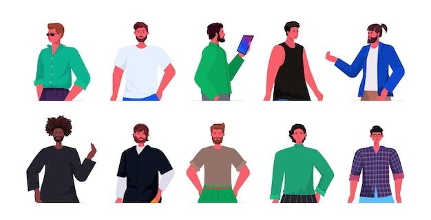 Set mix race junge männer in lässigen trendigen kleidung männliche zeichentrickfiguren avatare sammlung porträt Premium Vektoren