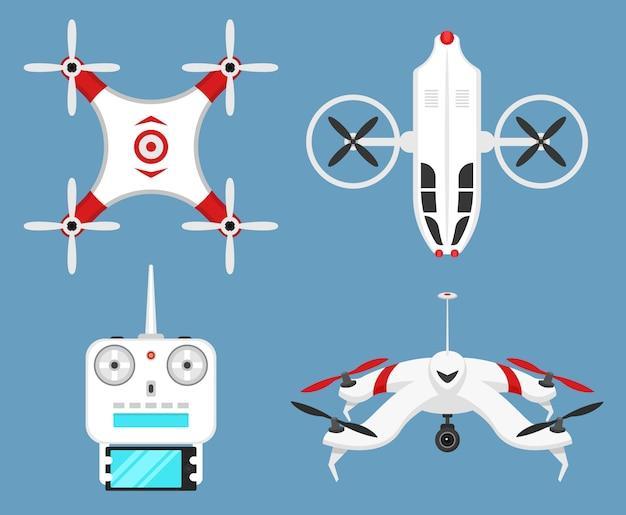 Set moderne luftdrohnen und fernbedienung. wissenschaft und moderne technologien. illustration. funkroboter oder flugzeug mit einer kamera in der luft. innovative systeme und entwicklungen. Premium Vektoren