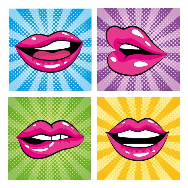 Set mund mit zähnen und zunge pop-art-design Premium Vektoren
