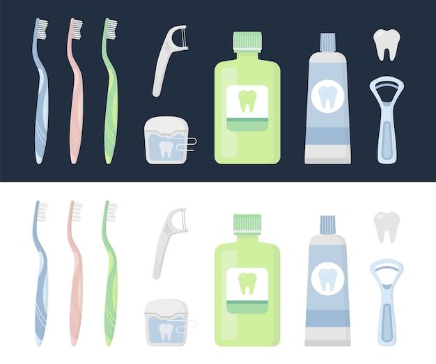 Set mundpflegeprodukte und zahnreinigungswerkzeuge Premium Vektoren