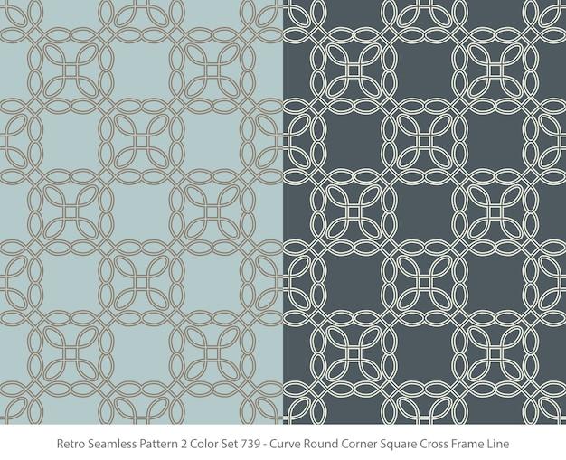 Set nahtlose muster mit curve round corner square frame Premium Vektoren