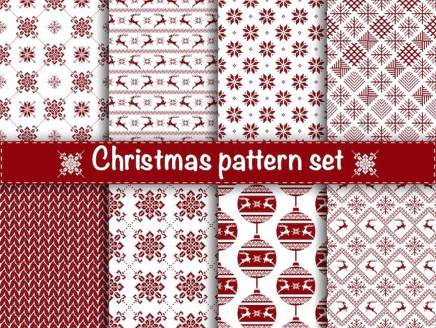 Set nahtlose weihnachtsmuster. Premium Vektoren