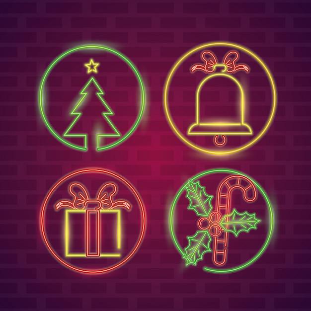 Set neonlichter der frohen weihnachten Premium Vektoren