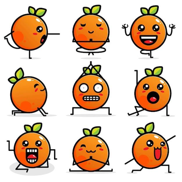 Set nette orange vektorauslegungen Premium Vektoren