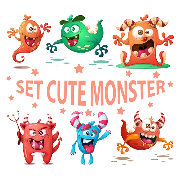 Set niedliche monster illustration. Premium Vektoren