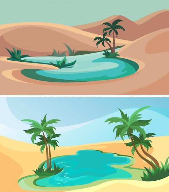 Set oase. schöne naturlandschaften. Premium Vektoren