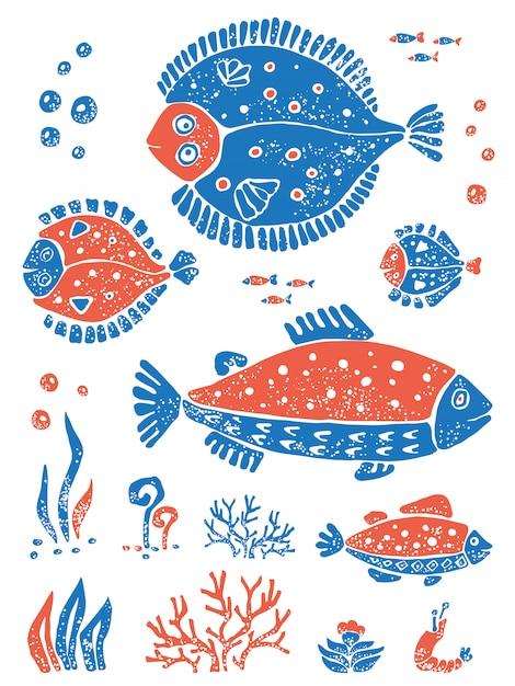 Set orange blaue fische in der naiven lino-schnittart Premium Vektoren