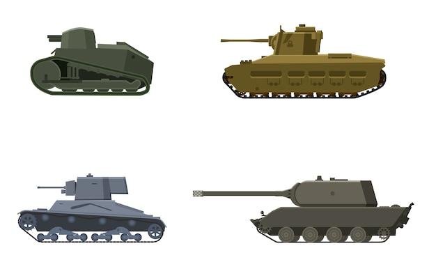 Set panzer amerikanisch deutsch großbritannien großbritannien französischer weltkrieg Premium Vektoren