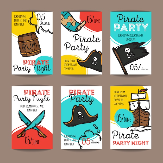 Set piratenpartyflieger Premium Vektoren