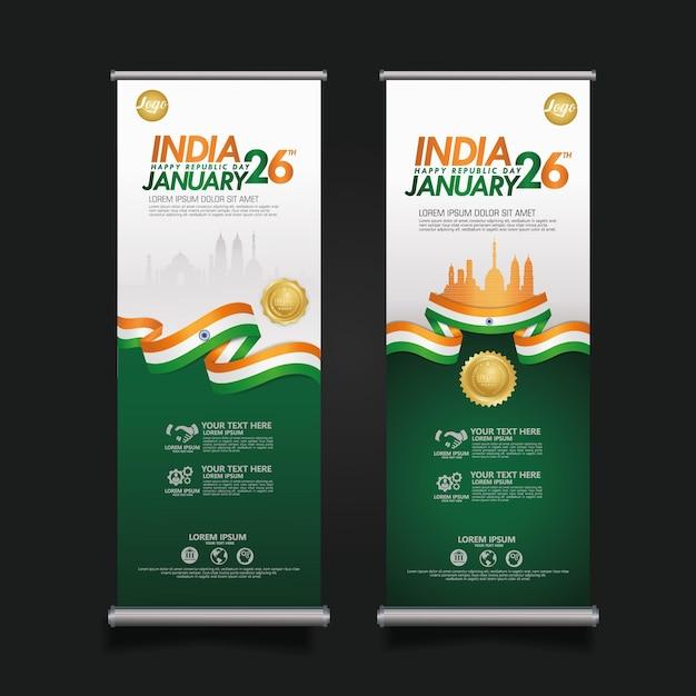 Set plakat indien glücklich tag der republik Premium Vektoren