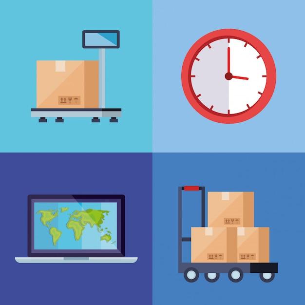Set poster des lieferlogistikdienstes Premium Vektoren